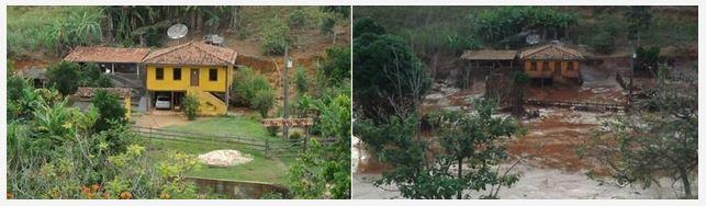 Zwei Bilder nebeneinander: Links ein gelbes Haus mitten in der Natur. Rechts dasselbe Haus umgeben von Schlamm